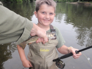 John Haney's first catch fly fishing