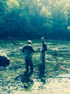 Jim Rebok with guide Blake Boyd on the South Holston