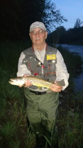Ron Hill with big brown on Pine Creek