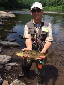 Ron Hill with big Brown on lower Pine